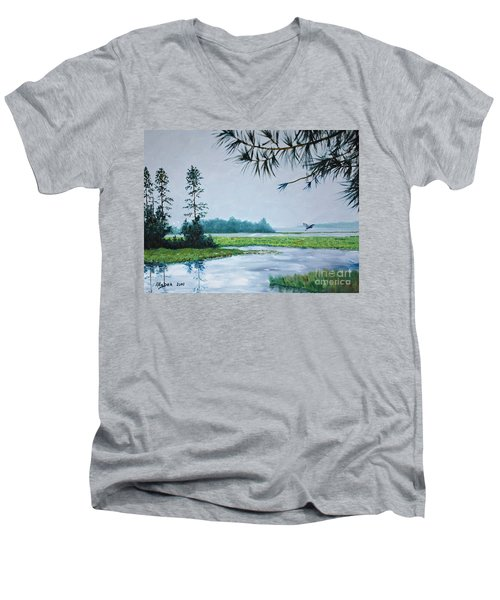 Misty Morning Men's V-Neck T-Shirt by Stanton Allaben