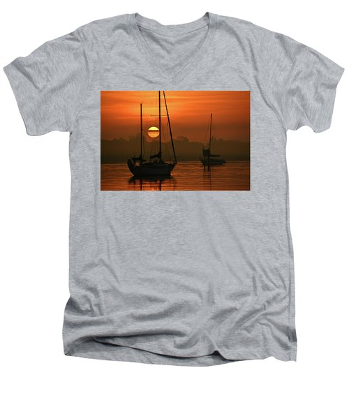 Misty Morning Sunrise Men's V-Neck T-Shirt