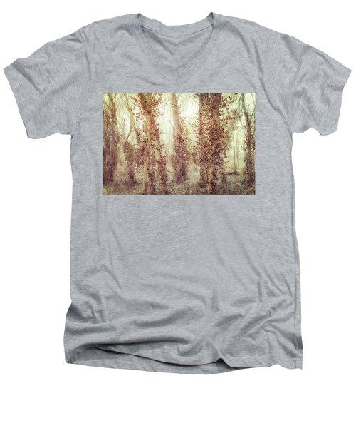 Misty Morning Winter Forest  Men's V-Neck T-Shirt