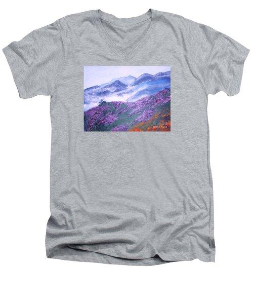 Misty Mountain Hop Men's V-Neck T-Shirt by Donna Dixon
