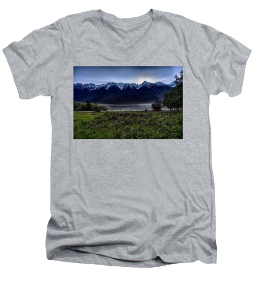 Men's V-Neck T-Shirt featuring the photograph Misty Mountain Morning Meadow  by Darcy Michaelchuk