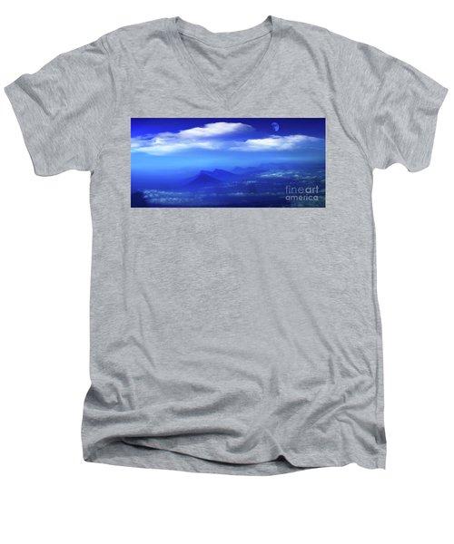 Misty Mountains Of San Salvador Panorama Men's V-Neck T-Shirt by Al Bourassa