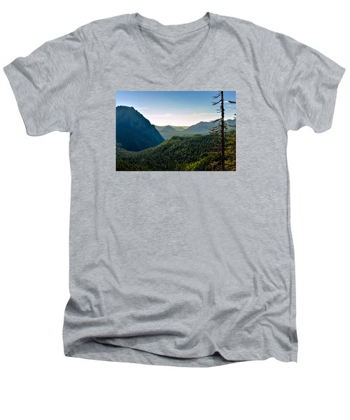 Men's V-Neck T-Shirt featuring the photograph Misty Mountains by Anthony Baatz