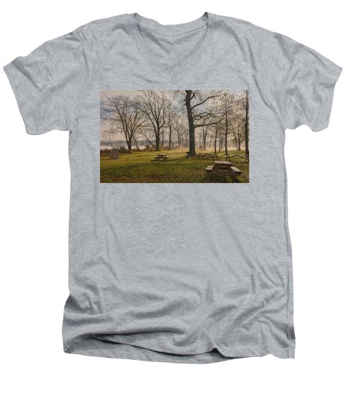 Misty November Picnic Grove Men's V-Neck T-Shirt