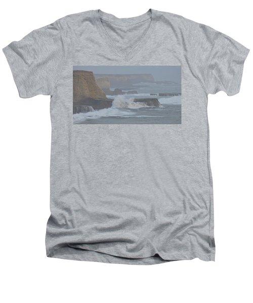 Misty Pacific Cliffs Men's V-Neck T-Shirt