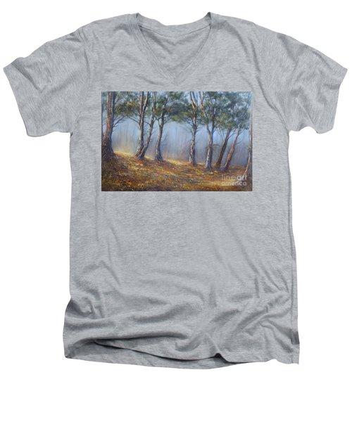 Misty Pines Men's V-Neck T-Shirt by Valerie Travers
