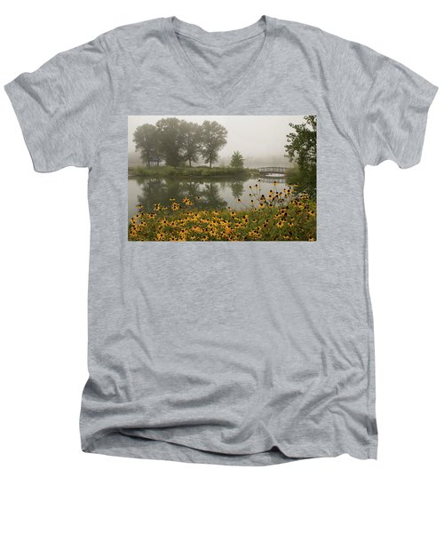 Misty Pond Bridge Reflection #3 Men's V-Neck T-Shirt