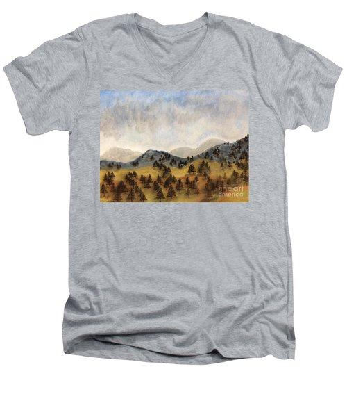 Misty Rain On The Mountain Men's V-Neck T-Shirt