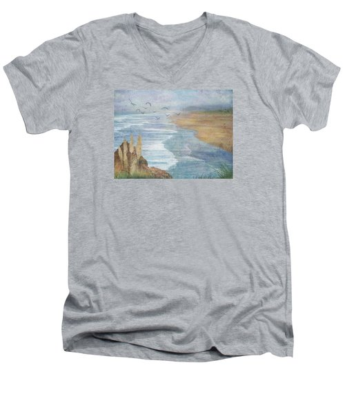 Men's V-Neck T-Shirt featuring the digital art Misty Retreat by Christina Lihani