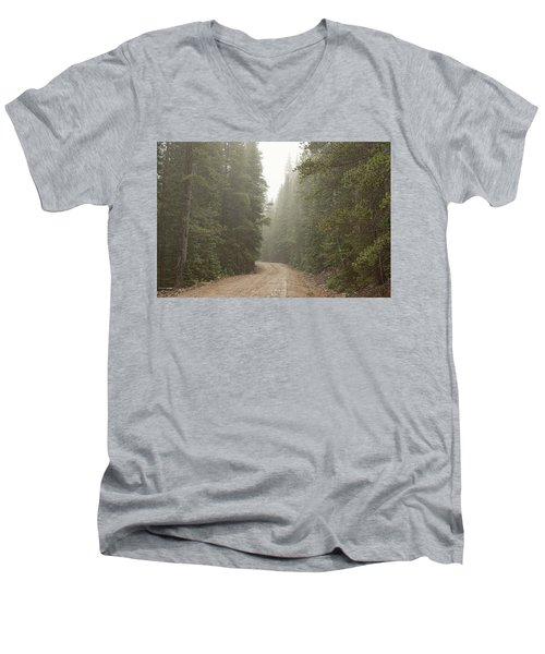 Men's V-Neck T-Shirt featuring the photograph Misty Road by James BO Insogna