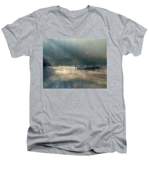 Men's V-Neck T-Shirt featuring the photograph Misty Sunrise by George Randy Bass