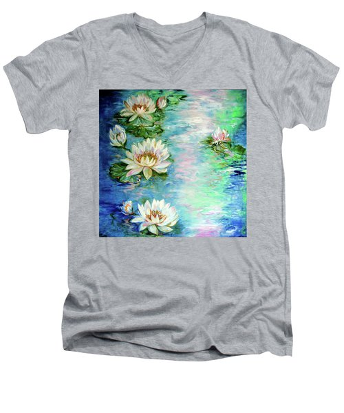 Misty Waters Waterlily Pond Men's V-Neck T-Shirt