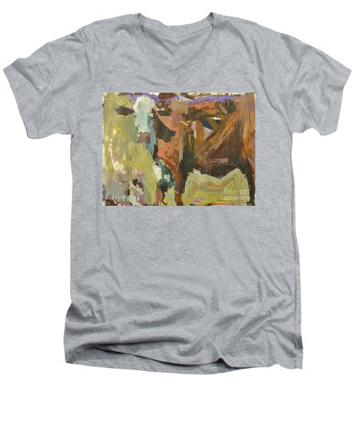 Men's V-Neck T-Shirt featuring the painting Mixed Media Cow Painting by Robert Joyner