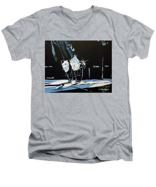 Men's V-Neck T-Shirt featuring the painting Mj On His Toes by Tom Riggs