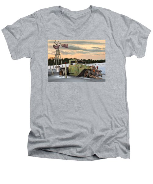 Men's V-Neck T-Shirt featuring the digital art Model A Flatbed by Stuart Swartz