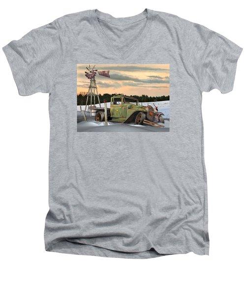 Model A Flatbed Men's V-Neck T-Shirt by Stuart Swartz