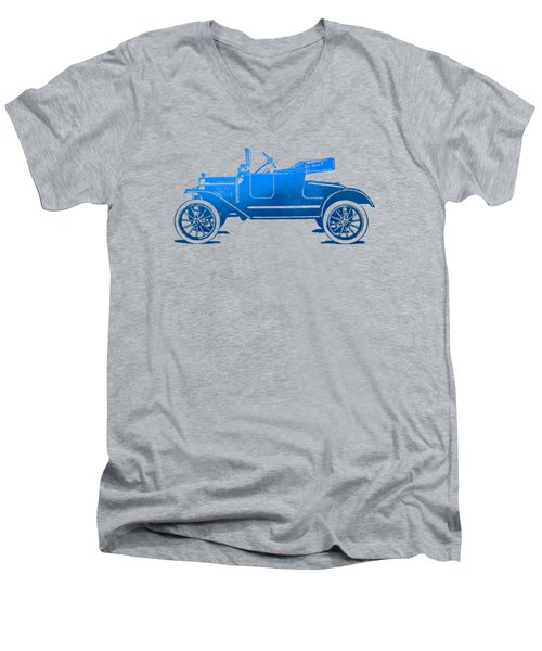 Model T Roadster Pop Art Blue Gradient Men's V-Neck T-Shirt