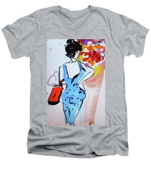 Model With Flowers And Red Handbag Men's V-Neck T-Shirt