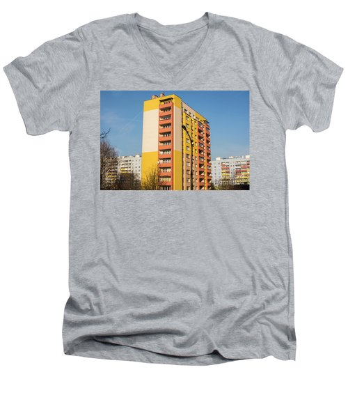 Men's V-Neck T-Shirt featuring the photograph Modern Apartment Buildings by Juli Scalzi