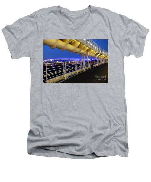 Men's V-Neck T-Shirt featuring the photograph Modern Bicycle Overpass By Night by Yali Shi