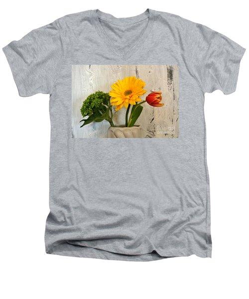Men's V-Neck T-Shirt featuring the photograph Modern Bouquet by Marsha Heiken