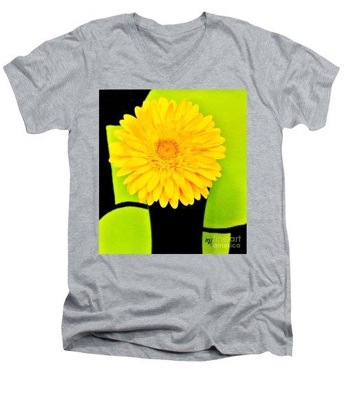 Modern Gerber Men's V-Neck T-Shirt by Marsha Heiken