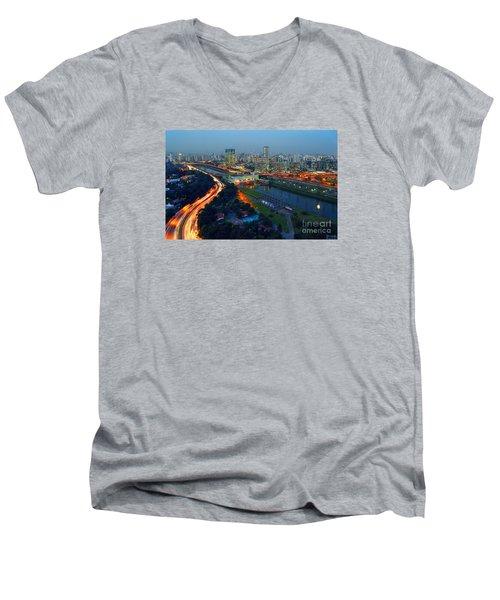 Modern Sao Paulo Skyline - Cidade Jardim And Marginal Pinheiros Men's V-Neck T-Shirt