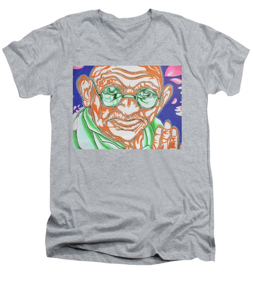 Men's V-Neck T-Shirt featuring the photograph Mohandas Karamchand Gandhi  by Juergen Weiss