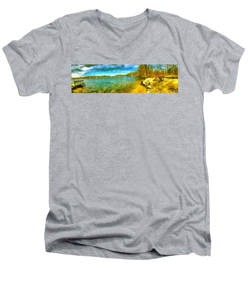 Men's V-Neck T-Shirt featuring the painting Mohegan Lake Panoramic Beach by Derek Gedney