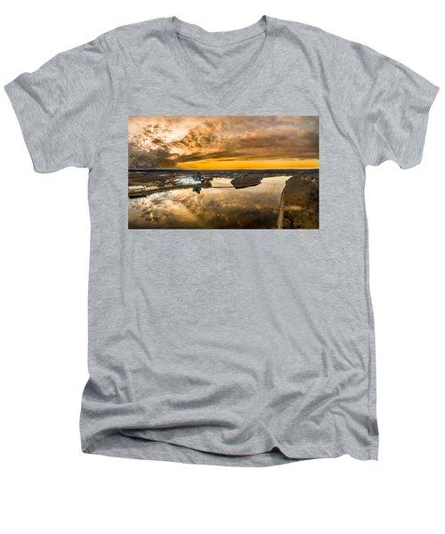Mohegan Sun Sunset Men's V-Neck T-Shirt by Petr Hejl