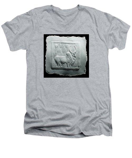 Mohenjodaro Seal Relief Drawing Men's V-Neck T-Shirt by Suhas Tavkar