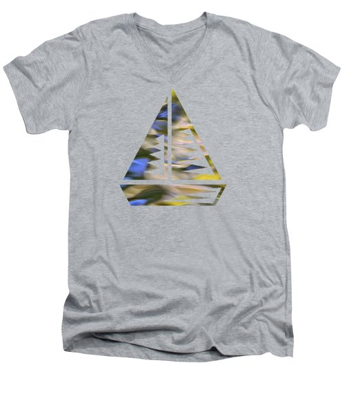 Men's V-Neck T-Shirt featuring the photograph Mojave Gold Mosaic Abstract Art by Christina Rollo