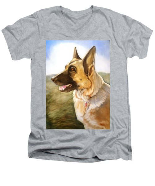 Men's V-Neck T-Shirt featuring the painting Mollie by Marilyn Jacobson