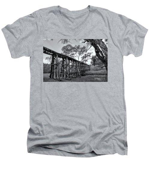 Men's V-Neck T-Shirt featuring the photograph Mollisons Creek Trestle Bridge by Linda Lees