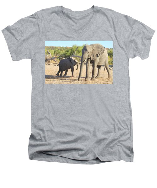 Men's V-Neck T-Shirt featuring the photograph Mom And Baby by Betty-Anne McDonald