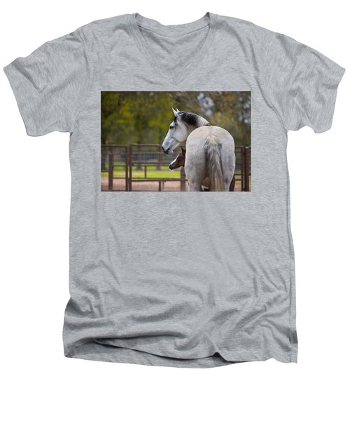 Men's V-Neck T-Shirt featuring the photograph Mom And Baby by Sharon Jones