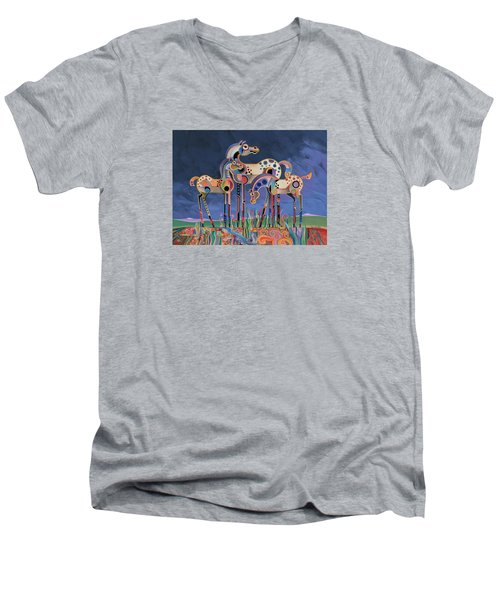 Mom And Foals Men's V-Neck T-Shirt by Bob Coonts