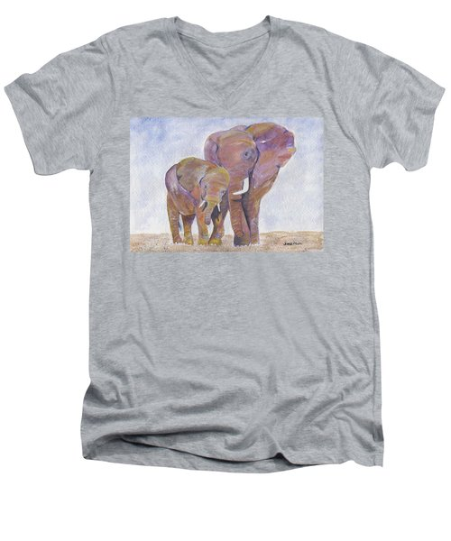 Men's V-Neck T-Shirt featuring the painting Mom And Me by Jamie Frier