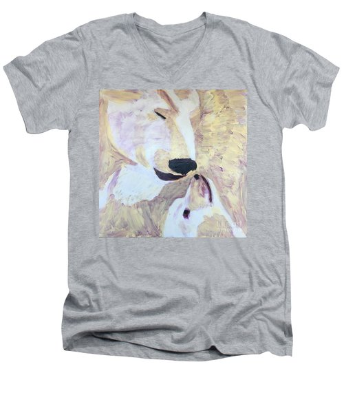 Men's V-Neck T-Shirt featuring the painting Momma Bear Checking On Her Cub by Donald J Ryker III