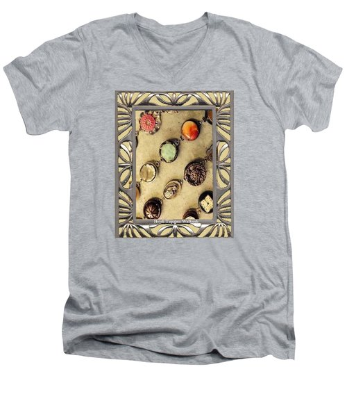 Men's V-Neck T-Shirt featuring the mixed media Moments In Time Bracelet Art by Heidi Walkush