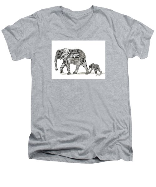 Men's V-Neck T-Shirt featuring the drawing Momma And Baby Elephant by Kathy Sheeran