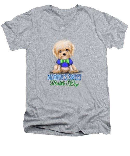Mommas Sweet Little Boy Men's V-Neck T-Shirt by Catia Cho