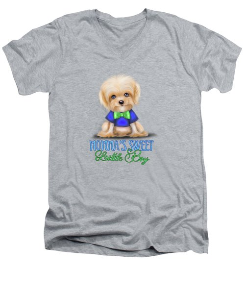 Mommas Sweet Little Boy Men's V-Neck T-Shirt