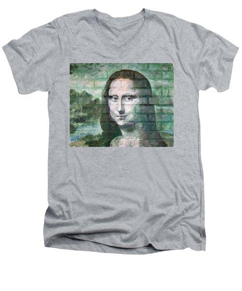 Mona Lisa  Men's V-Neck T-Shirt by Stan Tenney