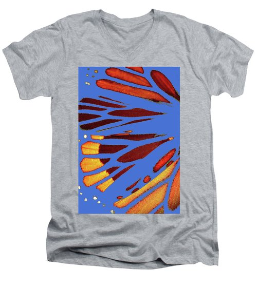 Monarch Abstract Blue Men's V-Neck T-Shirt