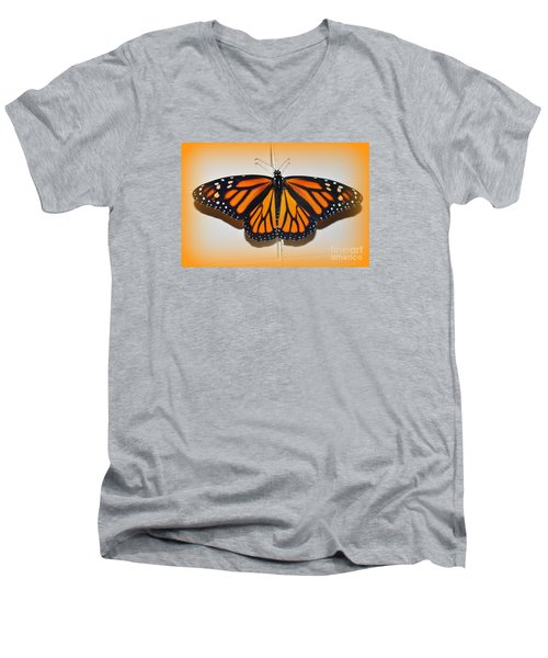 Men's V-Neck T-Shirt featuring the photograph Monarch Beauty by Lew Davis