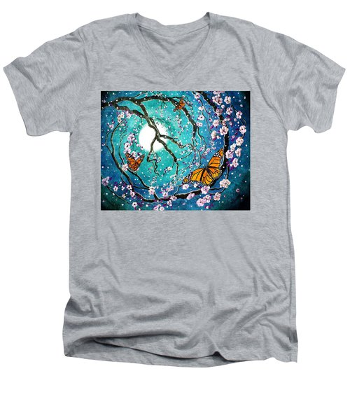 Monarch Butterflies In Teal Moonlight Men's V-Neck T-Shirt by Laura Iverson