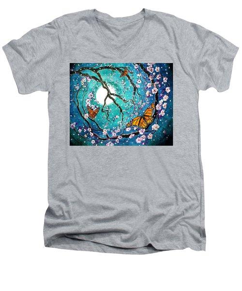 Monarch Butterflies In Teal Moonlight Men's V-Neck T-Shirt