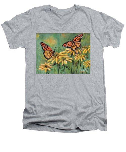 Monarch Butterflies Men's V-Neck T-Shirt by Lou Ann Bagnall