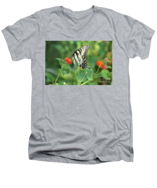 Men's V-Neck T-Shirt featuring the painting Monarch Butterfly by Debra Crank